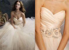 Blush Romantic Tulle Bridal Ball Gown with Floral Jewel Band ...
