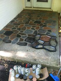 Painted Faux Stones on Concrete using a concrete path form from the home improvement store!Spray Painted Faux Stones on Concrete using a concrete path form from the home improvement store! Concrete Patios, Concrete Pathway, Concrete Slab, Stained Concrete, Concrete Porch, Patio Slabs, Flagstone Patio, Painted Patio Concrete, Concrete Cover
