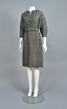 CHRISTAIN DIOR COUTURE WOOL DAY DRESS, SPRING/SUMMER 1956 Day Dresses, Dresses For Work, Dior Couture, Bodice, Neckline, Christian Dior, Tweed, High Neck Dress, Spring Summer