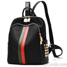 Cheap Black Frosted Oxford Cloth Rivet Bag PU Unique Green Red Vertical Stripes School Backpack For Big Sale! Stylish Backpacks, Girl Backpacks, School Backpacks, Lace Backpack, Leather Backpack, Fashion Bags, Fashion Backpack, Gucci Fashion, Most Expensive Handbags