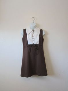 Womens 60's Mini Dress  Brown & White  Size M  by oneforallvintage, $24.00