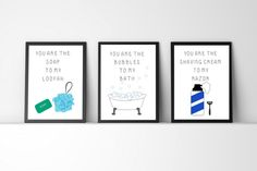 You are the bubbles to my bath wall art four by HotCreativeMess