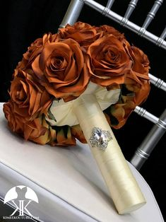 BURNT ORANGE Bridal Bouquet With BROOCH Handle. Burnt Orange Bouquet. Burnt Orange Brooch Bouquet. Burnt Orange Wedding. Qunceanera Bouquet. Pick color!! Bouquet measures approximately 11 wide and 13 in height. This dreamy & breath taking Bridal Bouquet is made from approximately 20 PREMIUM Real Flower Ball Centerpiece, Red Centerpieces, Mickey Centerpiece, Crown Centerpiece, Aqua Wedding, Bling Wedding, Orange Wedding Flowers, Burnt Orange Weddings, Blush Bridal Showers