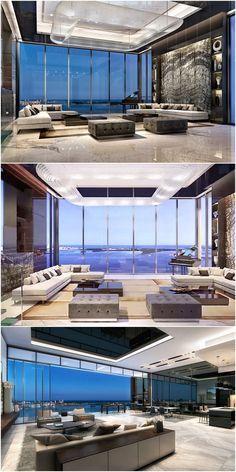New York Penthouse, Luxury Penthouse, Penthouse Apartment, Penthouse Suite, Luxury Condo, Condo Design, Apartment Interior Design, Modern House Design, Luxury Home Decor