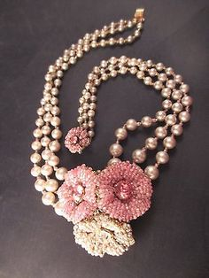 Signed Miriam Haskell Faux Pearl Pink Clear Rhinestone Seed Bead Necklace Choker | eBay