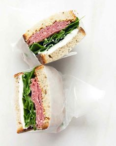 Salami and Cream Cheese Sandwich - these delcious sandwiches hold up well in a brown bag lunch without becoming soggy | Martha Stewart