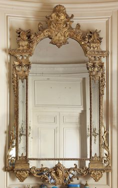 mirrors - Anita Bristow - mirrors A Régence carved giltwood mirror circa 1720 Estimate — USD LOT SOLD. Golden Mirror, French Mirror, Black Mirror, Old Mirrors, Vintage Mirrors, Antique Frames, Wood Floor Pattern, Beautiful Mirrors, Steel Furniture