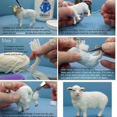 Sheep wool tutorial by leola - 2019 - wool diy - Animal animals! Sheep wool tutorial by leola You are in the right place about seashell crafts Here - Foam Crafts, Diy And Crafts, Arts And Crafts, Simple Crafts, Dollhouse Tutorials, Needle Felting Tutorials, Miniature Crafts, Miniature Houses, Miniature Dolls