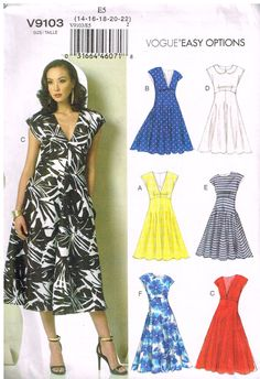 Vogue V9103, Sewing Pattern, Easy Options, Misses'  Dress,  Size 14,16,18,20,22 by OhSewWorthIt on Etsy