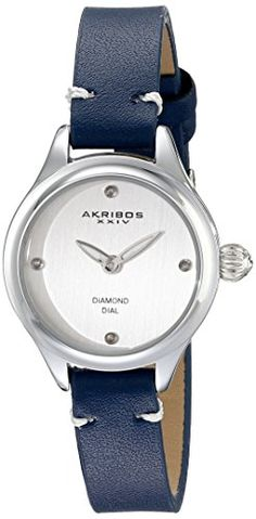 Akribos XXIV Womens AK750BU Quartz Movement Watch with Silver Dial and Blue Calfskin Leather Strap * Want additional info? Click on the image.