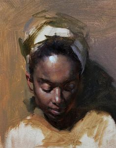 """Portrait painting in progress"" - Fongwei Liu, oil on canvas {contemporary figurative art female head african-american black woman face painting} fongweiliu.com"