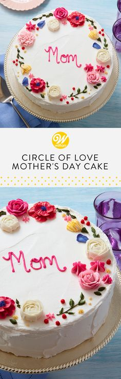 Celebrate Mom this Mother's Day with a beautiful cake decorated with her favorite buttercream flowers! Poppies, roses, carnations and ranunculus make a sweet statement that will make mom smile when you present this cake to her for Mother's Day brunch. #wiltoncakes #cakes #cakedecorating #cakeideas #buttercreamcakes #moms #mothersday #mothersdayidea #mothersdaybrunch #brunchideas #brunchrecipes #brunchparty #edibleflowers #flowers #spring #desserts #dessertideas #dessertrecipes #recipes