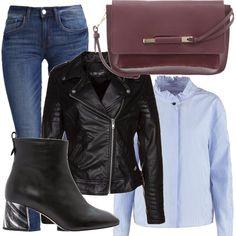 Ecco una valida alternativa alla classica camicia bianca: la camicia azzurra, per voi ho scelto questa con micro righe e rouches su collo, la abbiniamo a dei denim skinny. Aggiungiamo un tocco rock grazie al chiodo in pelle. Gli accessori sono davvero fashion: borsa color burgundy e stivaletti con tacco a motivo.