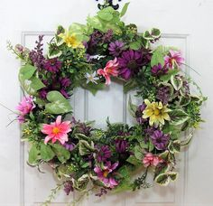 Spring Wreath - Floral Wreath - Spring Door Decor - Farmhouse Wreath - Easter Wreath - Every Day Wreath - Front Door Wreath by Designawreath on Etsy