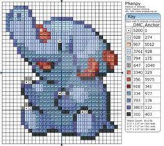 Pokemon - Phanpy by Makibird-Stitching on DeviantArt Kawaii Cross Stitch, Pokemon Cross Stitch, Cross Stitch Charts, Cross Stitch Patterns, Cross Stitching, Cross Stitch Embroidery, Pokemon Chart, Stitch Character, Nerd Crafts