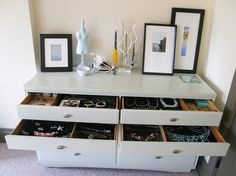 Craigslist dresser turned into a vanity for storing tons of jewelry.