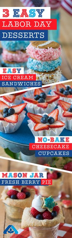 Labor Day just got a whole lot sweeter! Check out these three delicious and patriotic desserts, perfect for your Labor Day celebration! Labor Day just got a whole lot sweeter! Check out these three delicious and patriotic desserts, perfec Patriotic Desserts, 4th Of July Desserts, Holiday Desserts, Holiday Treats, Easy Desserts, Holiday Recipes, Delicious Desserts, Dessert Recipes, Yummy Food