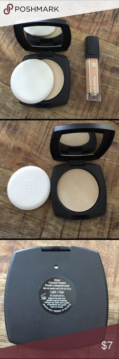 Arbonne lipgloss & powder Gently used sheer powder & gloss (make up pad will be discarded) I will sell separately if need be.  arbonne Makeup Face Powder