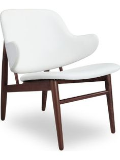 Kardiel Larsen Shell Wood Modern Lounge Chair, White Italian Leather/Walnut ❤ Kardiel