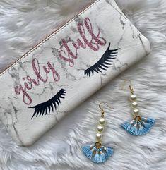Baby blue and pearl drop tassel earrings