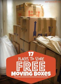 Top 17 Places That Offer Free Cardboard Moving Boxes A great list of places where you can score FREE Moving boxes! Talk about making your DIY moving a little more affordable. Thankful for these tips. Moving House Tips, Moving Costs, Moving Home, Moving Day, Moving Tips, Get Moving, Moving Hacks, Moving Checklist, Free Moving Boxes
