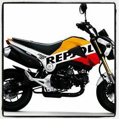 Honda msx 125 REPSOL Honda Grom, Honda Cub, Men Warehouse, Scooter Bike, Honda Motors, Hell On Wheels, Pit Bike, Sport Bikes, Cubs
