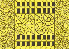 Czarny wzór na żółtej kartce