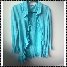 Lilly Pulitzer light blue cardigan size M Never worn! Perfect condition! Gorgeous light blue Ruffles Lilly Pulitzer cardigan size medium. Originally paid 248 Lilly Pulitzer Sweaters Cardigans