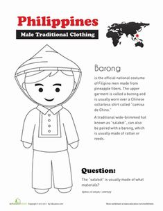 Social Studies Worksheets: Traditional Filipino Clothing