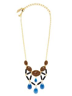 David Aubrey Gloria Brown, Black & Blue Beaded Bib Necklace