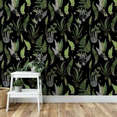 Modern Cottage The Ferns wallpaper in black was hand painted by Naomi McCavitt of Thickett Design fo Her Wallpaper, Wallpaper Panels, Self Adhesive Wallpaper, Peel And Stick Wallpaper, Modern Cottage, High Walls, Ferns, Black Backgrounds, Tapestry