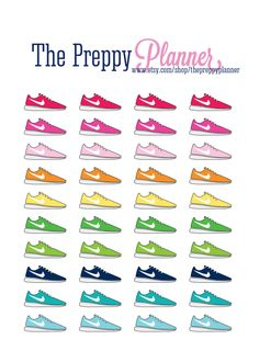 Running Shoe Planner Stickers for Filofax Kikki Erin Condren ECLP and Lilly Pulitzer Agendas #132 by ThePreppyPlanner on Etsy https://www.etsy.com/listing/248296074/running-shoe-planner-stickers-for