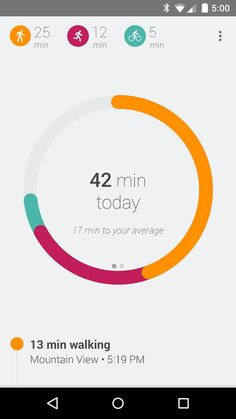 UI - Example #2  graphs on Google Fit