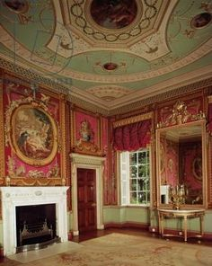Side-table, pier glass and fireplace by Adam in the Tapestry room at Osterley Park, c.1763 (photo)- love the color of the ceiling