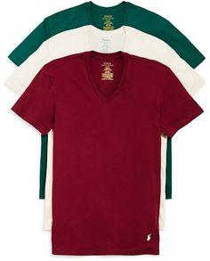 Polo Ralph Lauren Short Sleeve V-Neck Tee, Pack of 3
