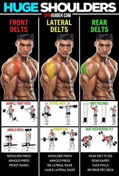Shoulder Workout Routine, Shoulder Workout At Home, Workout Routine For Men, Shoulder Workouts For Men, Boulder Shoulder Workout, Home Workout Men, Workout Plan For Men, Gym Workout Chart, Gym Workout Videos