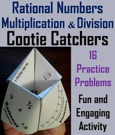 These cootie catchers are a great way for students to have fun while they practice multiplication and division of rational numbers.  How to Play and Assembly Instructions are included.Answers are provided for each problem.