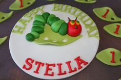 Very Hungry Caterpillar Cake Topper by ClaudiaCupcakeLady on Etsy, $16.00