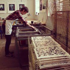 Meet the designer: Alex Foster Screen Printer, Silk Screen Printing, Stamp Printing, Printing On Fabric, Artist Workspace, Textile Artists, Art Studios, Wood Print, Artist At Work