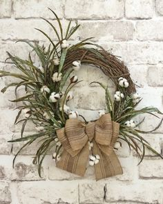 Cotton Boll Wreath, Cotton Wreath, Summer Wreath for Door, Front Door Wreath…