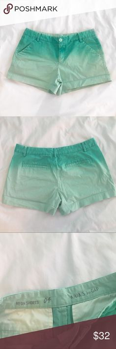 Gap blue ombré khaki shorts Super cute blue ombre shorts!! Used but in excellent condition!! Material: 98% cotton, 2% spandex. I would say they run just a bit large... so they probably fit more like a 6 GAP Shorts