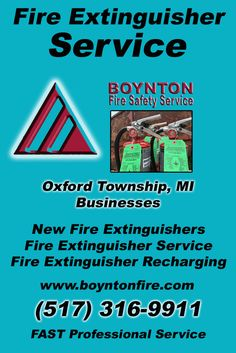 Fire Extinguisher Service Oxford Charter Township, MI (517) 316-9911Local Michigan Businesses Discover the Complete Fire Protection Source.  We're Boynton Fire Safety Service.. Call us today!
