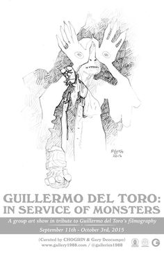 Mike Mignola drawing the Pale Man for the Guillermo del Toro: In Service of Monsters art show!