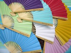 Personalized Paper Fans w/ Side Handle Print (10 PACK)  Custom Printed Items on Sale Now from PaperLanternStore at the Best Bulk Wholesale Prices. on Sale Now! We offer vintage and unique LED candles, table decorations, wedding decor and lighting supplies in Bulk at Wholesale Prices.
