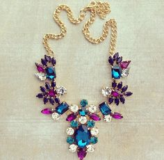 jewel tone statement necklace - I love these colors. Someday I'll find one of the kind!