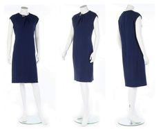 1966-67 A Balenciaga couture navy wool crêpe. shift