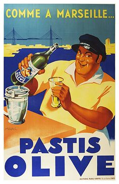 Pastis Olive  Comme a Marseille  Food & Drink Poster  by WallArty