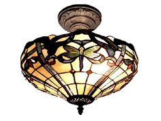 14 Antique Bronze Cabrinin Hand Crafted Glass TiffanyStyle SemiFlush Mount Ceiling Light Fixture * Continue to the product at the image link.