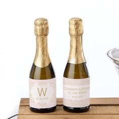Personalized Mini Wine Bottle Labels - Modern Romance, Party Favor, Guest Gift for Bridal Showers, W Champagne Wedding Favors, Wedding Wine Bottles, Mini Wine Bottles, Small Bottles, Gold Wedding, Personalized Water Bottle Labels, Personalized Favors, Wine Bottle Favors, Kate Aspen