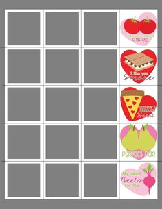"""""""FOOD"""" VALENTINE STRIPS PHOTOSHOP TEMPLATE Box Design Templates, Psd Templates, Valentines Day Card Templates, Color Profile, Custom Cards, Word Art, All Art, Create Your Own, Photoshop"""